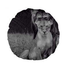 King And Queen Of The Jungle Design  Standard 15  Premium Round Cushions by FrontlineS