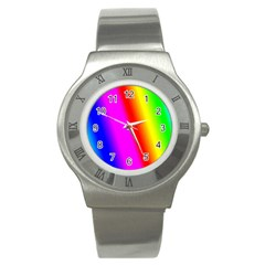 Multi Color Rainbow Background Stainless Steel Watch by Amaryn4rt