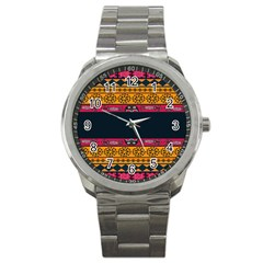 Pattern Ornaments Africa Safari Summer Graphic Sport Metal Watch by Amaryn4rt