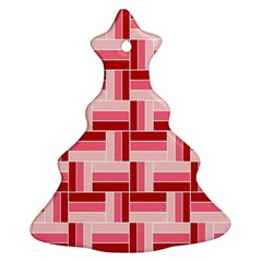 Pink Red Burgundy Pattern Stripes Christmas Tree Ornament (two Sides) by Amaryn4rt