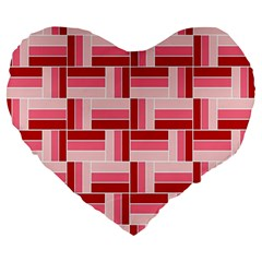 Pink Red Burgundy Pattern Stripes Large 19  Premium Heart Shape Cushions by Amaryn4rt