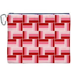 Pink Red Burgundy Pattern Stripes Canvas Cosmetic Bag (xxxl)