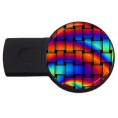 Rainbow Weaving Pattern Usb Flash Drive Round (2 Gb) by Amaryn4rt