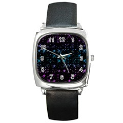 Stars Pattern Seamless Design Square Metal Watch by Amaryn4rt