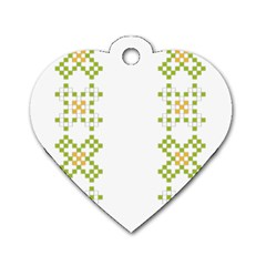 Vintage Pattern Background  Vector Seamless Dog Tag Heart (one Side) by Amaryn4rt