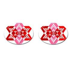 Valentine Heart Love Pattern Cufflinks (oval) by Amaryn4rt
