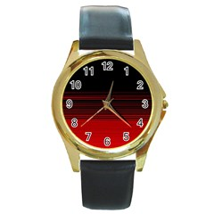 Abstract Of Red Horizontal Lines Round Gold Metal Watch by Amaryn4rt