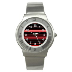 Abstract Of Red Horizontal Lines Stainless Steel Watch by Amaryn4rt