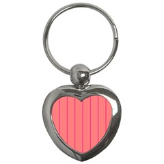 Background Image Vertical Lines And Stripes Seamless Tileable Deep Pink Salmon Key Chains (heart)  by Amaryn4rt
