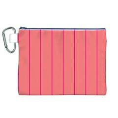 Background Image Vertical Lines And Stripes Seamless Tileable Deep Pink Salmon Canvas Cosmetic Bag (xl) by Amaryn4rt