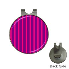 Deep Pink And Black Vertical Lines Hat Clips With Golf Markers by Amaryn4rt
