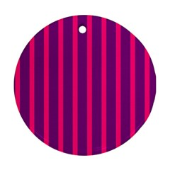 Deep Pink And Black Vertical Lines Round Ornament (two Sides) by Amaryn4rt