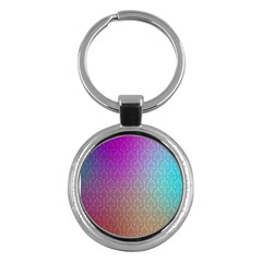 Blue And Pink Colors On A Pattern Key Chains (Round)  by Amaryn4rt