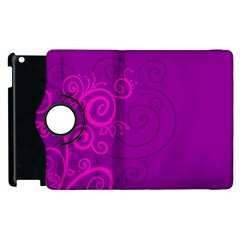 Floraly Swirlish Purple Color Apple Ipad 2 Flip 360 Case by Amaryn4rt