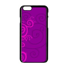 Floraly Swirlish Purple Color Apple Iphone 6/6s Black Enamel Case by Amaryn4rt