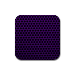 Dark Purple Metal Mesh With Round Holes Texture Rubber Square Coaster (4 Pack)  by Amaryn4rt