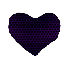 Dark Purple Metal Mesh With Round Holes Texture Standard 16  Premium Heart Shape Cushions by Amaryn4rt