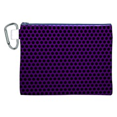 Dark Purple Metal Mesh With Round Holes Texture Canvas Cosmetic Bag (xxl) by Amaryn4rt