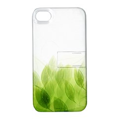 Green Leaves Pattern Apple Iphone 4/4s Hardshell Case With Stand by Amaryn4rt