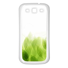 Green Leaves Pattern Samsung Galaxy S3 Back Case (white) by Amaryn4rt
