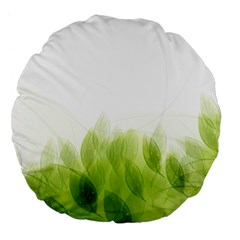 Green Leaves Pattern Large 18  Premium Flano Round Cushions by Amaryn4rt