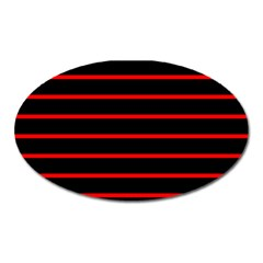 Red And Black Horizontal Lines And Stripes Seamless Tileable Oval Magnet by Amaryn4rt