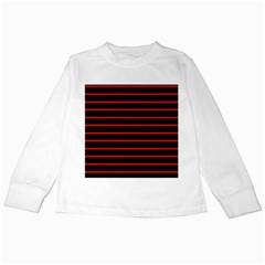 Red And Black Horizontal Lines And Stripes Seamless Tileable Kids Long Sleeve T Shirts by Amaryn4rt