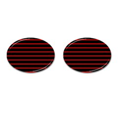 Red And Black Horizontal Lines And Stripes Seamless Tileable Cufflinks (oval) by Amaryn4rt