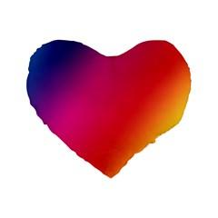 Rainbow Colors Standard 16  Premium Flano Heart Shape Cushions by Amaryn4rt
