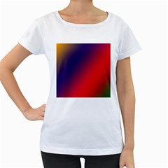 Rainbow Two Background Women s Loose Fit T Shirt (white)