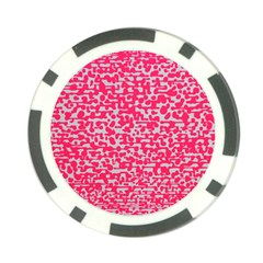 Template Deep Fluorescent Pink Poker Chip Card Guard by Amaryn4rt
