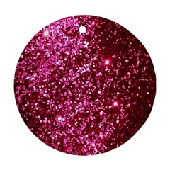 Pink Glitter Round Ornament (two Sides) by Amaryn4rt