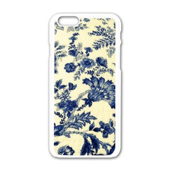 Vintage Blue Drawings On Fabric Apple Iphone 6/6s White Enamel Case by Amaryn4rt