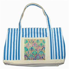 Beautiful Blue Sea Shell Striped Blue Tote Bag by Brittlevirginclothing