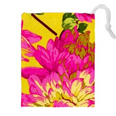 Beautiful pink flowers Drawstring Pouches (XXL) by Brittlevirginclothing
