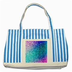 Rainbow Sparkles Striped Blue Tote Bag by Brittlevirginclothing