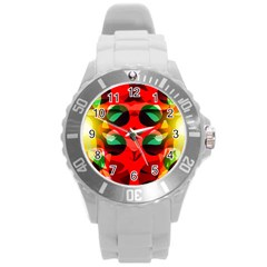 Abstract Digital Design Round Plastic Sport Watch (l)