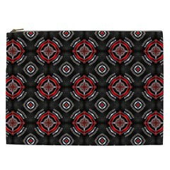 Abstract Black And Red Pattern Cosmetic Bag (xxl)