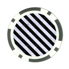 Stripes3 Black Marble & White Marble (r) Poker Chip Card Guard by trendistuff