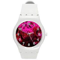 Abstract Bubble Background Round Plastic Sport Watch (m) by Amaryn4rt