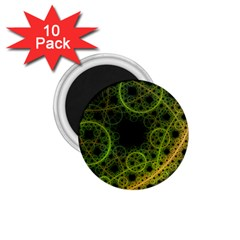 Abstract Circles Yellow Black 1 75  Magnets (10 Pack)