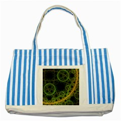 Abstract Circles Yellow Black Striped Blue Tote Bag by Amaryn4rt