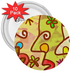 Abstract Faces Abstract Spiral 3  Buttons (10 Pack)  by Amaryn4rt
