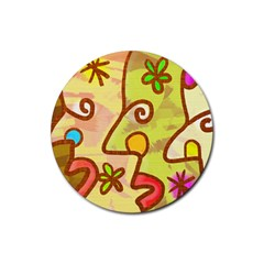 Abstract Faces Abstract Spiral Rubber Coaster (round)  by Amaryn4rt