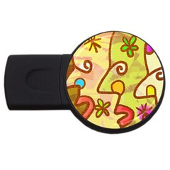 Abstract Faces Abstract Spiral Usb Flash Drive Round (4 Gb) by Amaryn4rt