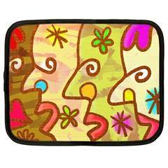 Abstract Faces Abstract Spiral Netbook Case (large) by Amaryn4rt