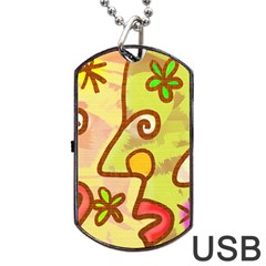 Abstract Faces Abstract Spiral Dog Tag Usb Flash (two Sides) by Amaryn4rt