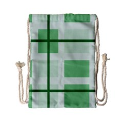 Abstract Green Squares Background Drawstring Bag (small) by Amaryn4rt