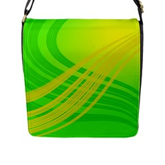 Abstract Green Yellow Background Flap Messenger Bag (l)  by Amaryn4rt