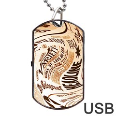 Abstract Newspaper Background Dog Tag Usb Flash (two Sides) by Amaryn4rt